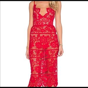 For Love and Lemons Red Lace Midi Gianna Dress XS
